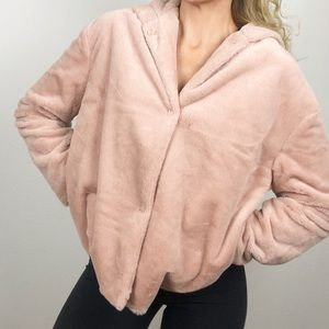 Hooded Fuzzy Fleece Button Up Jacket Pink Small